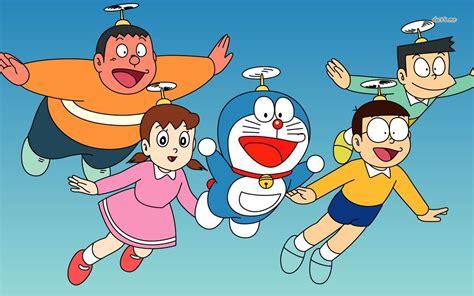 Doraemon Characters Flying Wallpaper