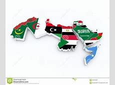 Arab League Member Flags On 3D Map Stock Illustration