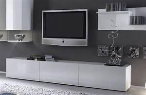 Banc TV Blanc Laqu Design ABIBO