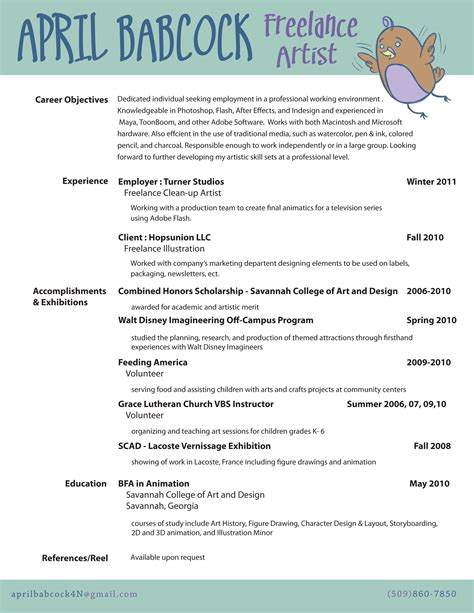 resumeart resume r 233 sum 233 april babcock concept artist