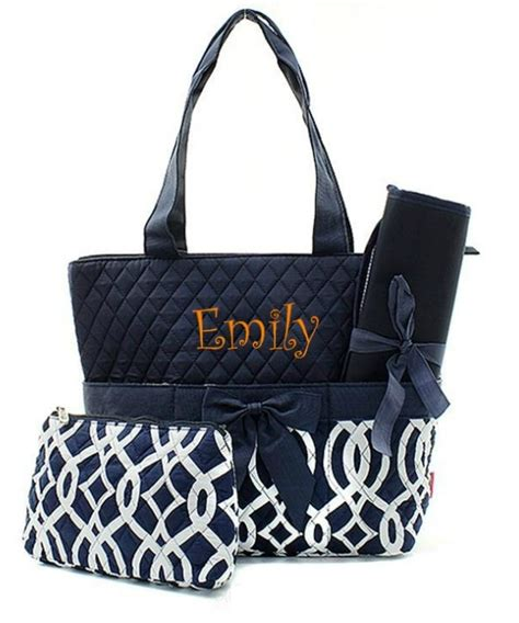 personalized monogram  quilted tote diaper baby bag