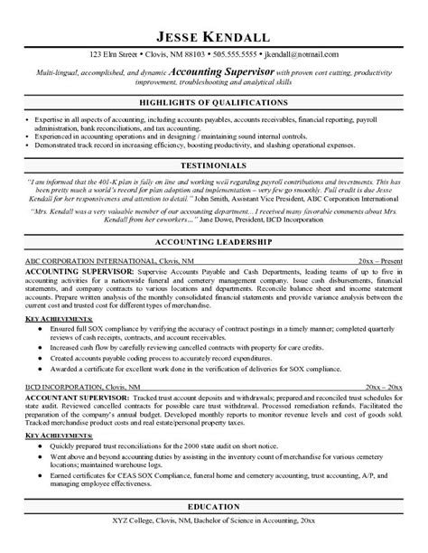Free Best Resume Format For Accountant by Sle Accounting Resumes Best Resume Exle