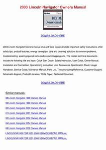 2003 Lincoln Navigator Owners Manual By Deboracameron