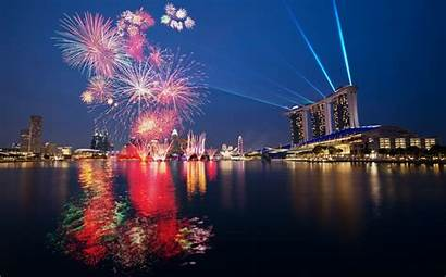 Singapore Fireworks Marina Bay Night Sands Water
