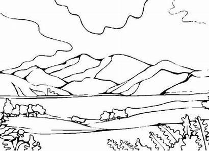 Coloring Mountains Landscape Landscapes Mountain Nature Google