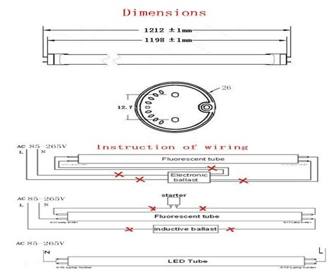 From Fluorescent Led Wiring by In Us Stock T8 Led Lights G13 4ft Ture 22w 1200mm