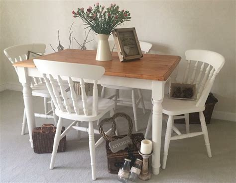 shabby chic farmhouse table  chairs kitchen dining