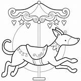 Coloring Carousel Pattern Animals Animal Dog Sheets Embroidery Horse Drawing Greyhound Adult Patterns Finished Digi sketch template