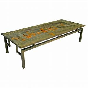 bronze and enamel coffee table by philip and kelvin With enamel coffee table