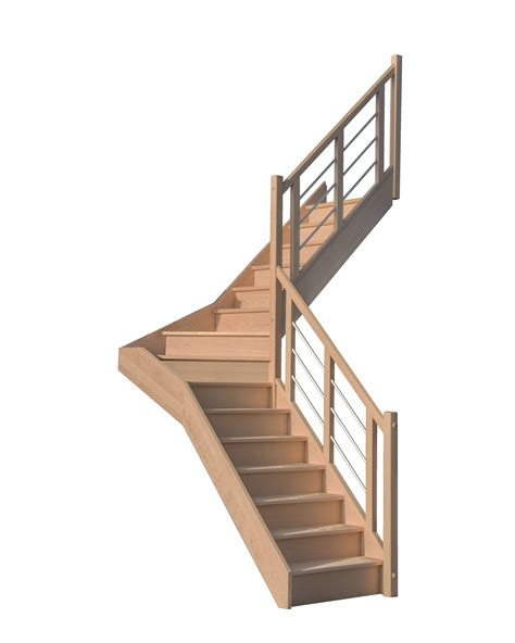 escalier quart tournant milieu en h 234 tre avec contre marches sans re hauteur 272 cm