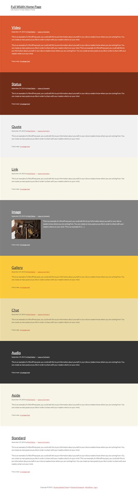 create new page template for blog in genesis theme with full width posts page template for genesis