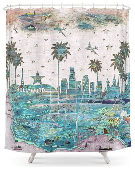 society6 los angeles skyline vintage map shower curtain