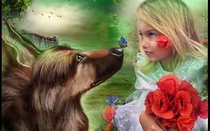 Mood, Flowers, Flower, Children, Child, Dogs, Dog, Girl, Girls, 1920x1200, Wallpapers13, Com