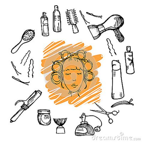 illustration tiree par la main outils de coiffure