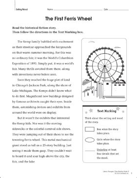 ferris wheel close reading passage printable