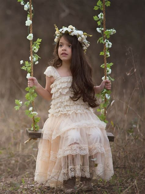 rustic lace flower girl dress champagne  country