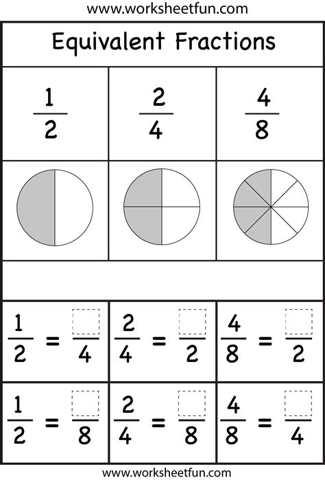 Equivalent Fractions Worksheets Free  Building Equivalent Fractions Worksheets Free Printable