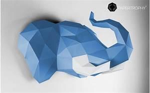 Trophée Animaux Origami : troph e mural origami elephant bleu pour la d coration de chambre enfant troph es animaux en ~ Teatrodelosmanantiales.com Idées de Décoration