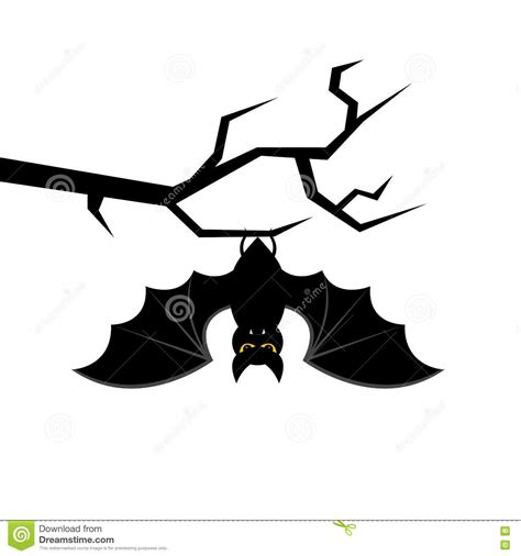 Cartoon Bat Hanging On Tree Branch Happy Halloween Card