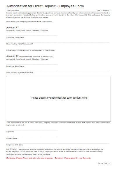 direct deposit form template word direct deposit form template free word templates