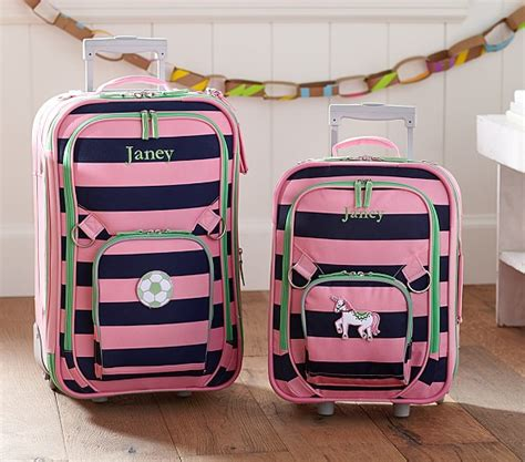 pottery barn suitcase fairfax pink navy stripe luggage pottery barn