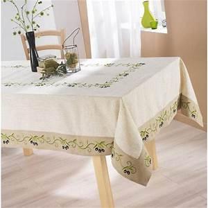Nappe De Table : nappe de table 150x240cm olive noire lin polyester achat vente nappe de table cdiscount ~ Teatrodelosmanantiales.com Idées de Décoration