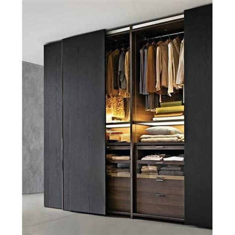 Black Wardrobe by Wooden Black Modern Wardrobes Rs 38000 Da Design