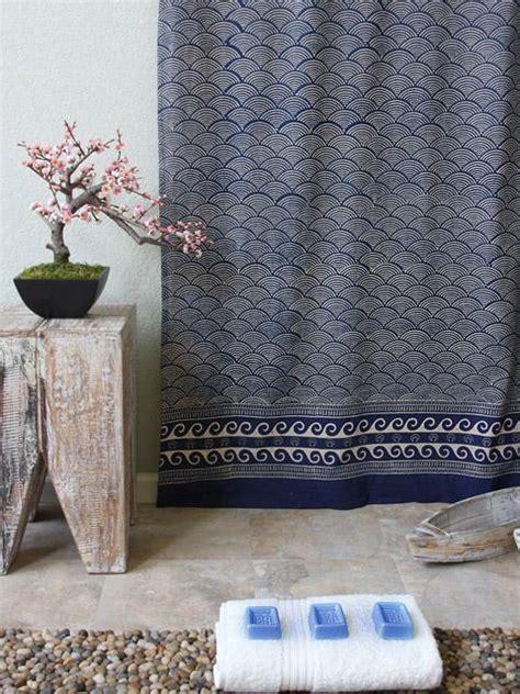 rustic navy blue shower curtain asian insipired shower