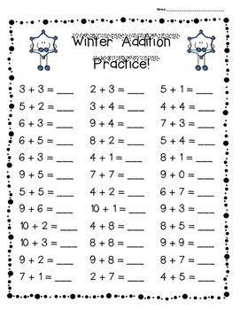 winter addition practice pack levels
