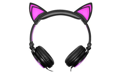 headphones with light up cat ears 85 off on jamsonic light up cat headphones groupon goods