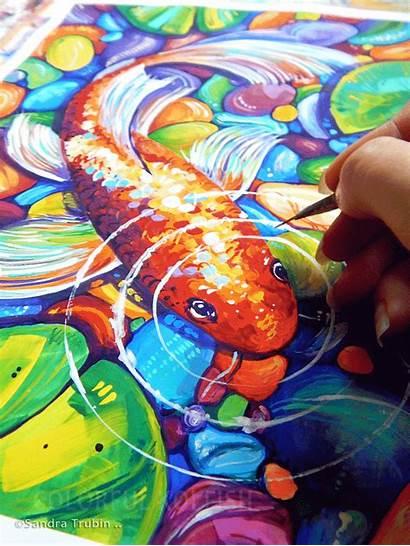 Fish Koi Colorful Painting Sandra Trubin Step