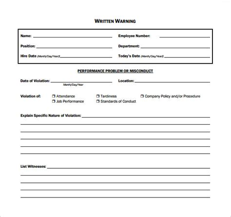 Written Warning Template 11 Written Warning Templates Pdf Sle Templates