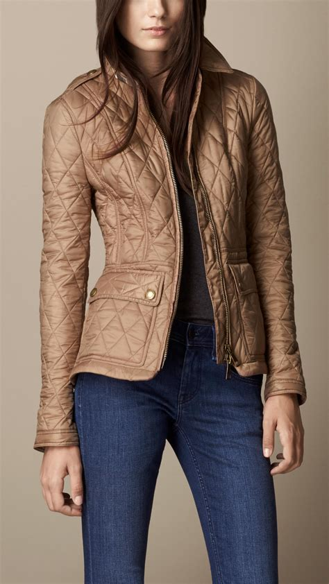 burberry fitted diamond quilt jacket  brown lyst