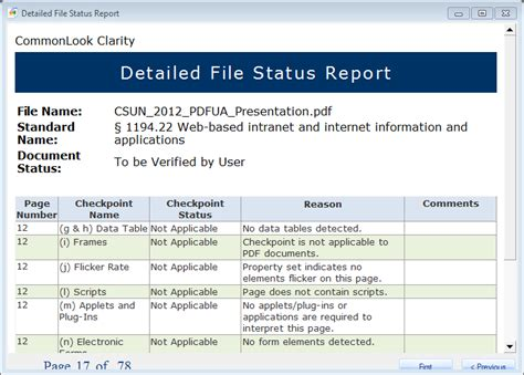 Detailed File Status Report 508 Accessibility Compliance
