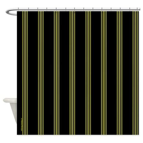 yellow and black pinstripe shower curtain by rainbowhot