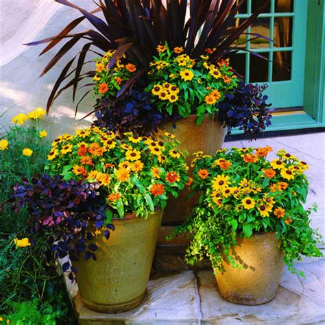 fall flower pot ideas fall ensemble sunset