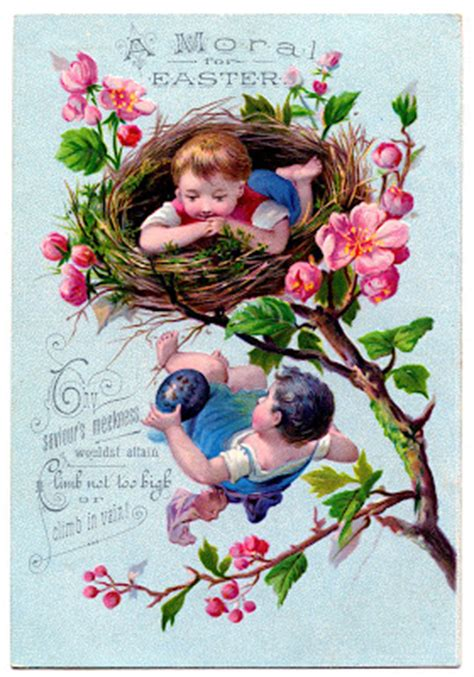 vintage easter clip art children  nest  graphics