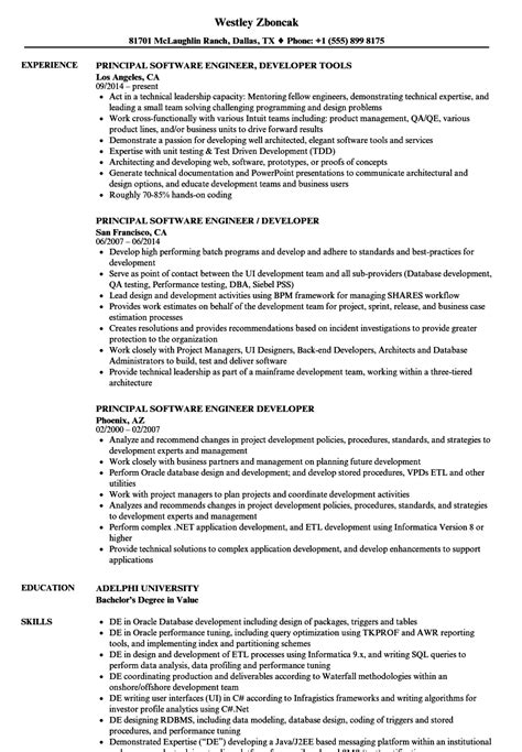 principal software engineer developer resume sles