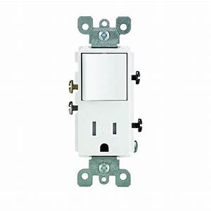 Leviton Decora 15 Amp Tamper Resistant Combo Switch And Outlet  White-r62-t5625-0ws