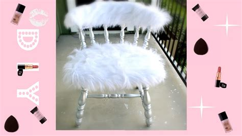 easiest diy faux fur vanity chair