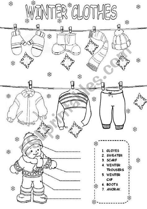 worksheets winter clothes