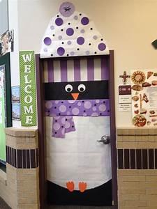 Winter, Penguin, Door, Decoration, Complete, With, Hat, And