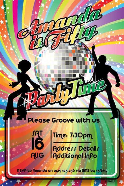 disco birthday party digital printable invitation