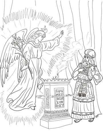 angel visits zechariah coloring page  printable