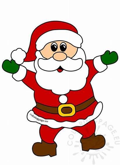 Santa Christmas Clipart Claus Cheerful Cartoon Outline