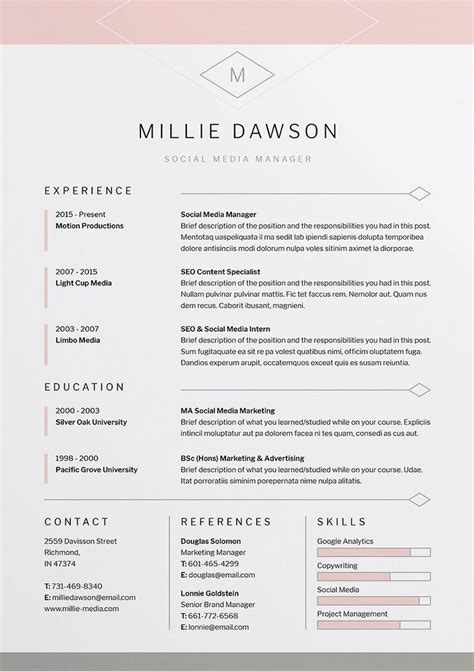Design Resume Template by Best 25 Professional Resume Design Ideas On