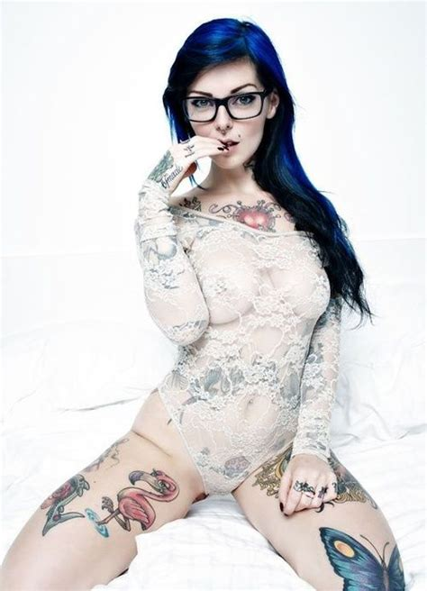 Hot Girl With Tattoos And Glasses In Lingerie Dragonlily