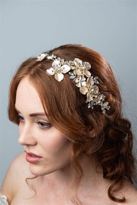 DARETH COLBURN GOLD FLORAL AND CRYSTAL HEADPIECE | The ...