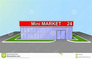 Mini Market Shop Facade Retail Trade 24 Hours Stock Vector ...