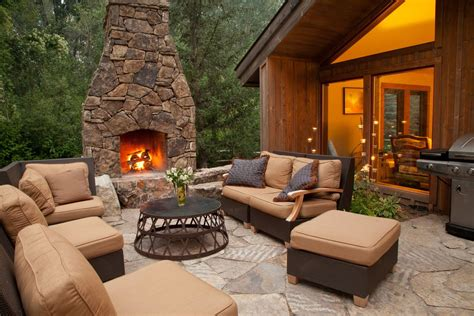 backyard patio designs with fireplace